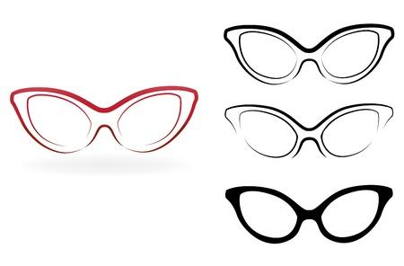 wayfarer: Set of modern glasses,  illustration isolated on white background