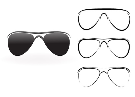 wayfarer: Set of modern glasses and sunglasses,  illustration isolated on white background
