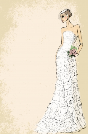dress sketch: Bride in wedding dress with a bouquet of roses on a pink background