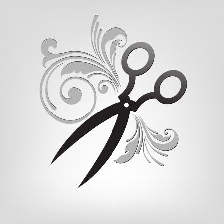 haircutting: scissors. stylization. design element for vector illustration Illustration