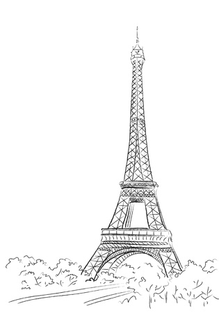 パリ、エッフェル塔の背景  イラスト・ベクター素材