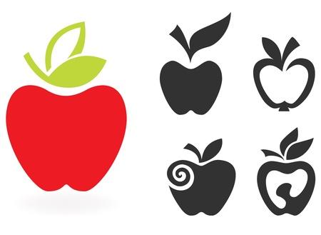 manzana: conjunto de icono de la manzana aislada sobre fondo blanco. Ilustración vectorial