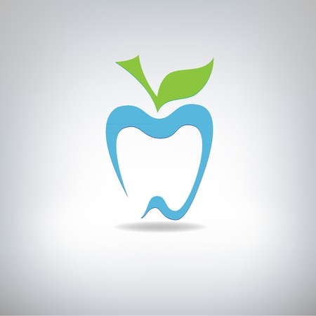 silhouette of a tooth in the form of an apple, vector illustration