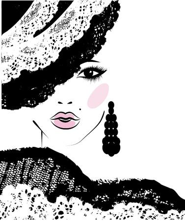 femme dessin: fille avec une coiffure � la mode dans un chapeau de dentelle, illustration de mode