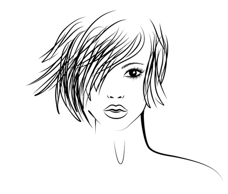 girl with a fashionable hairstyle, fashion illustration Illustration