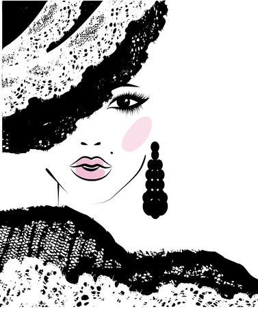 taglio capelli: ragazza con un taglio di capelli alla moda in un cappello di pizzo, illustrazione di moda