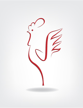 stylized cock on the gray background Illustration