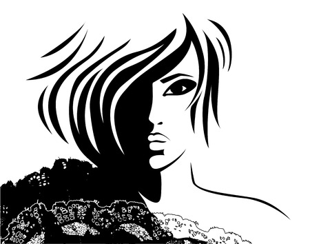 woman face with a fashionable hairstyle Illustration