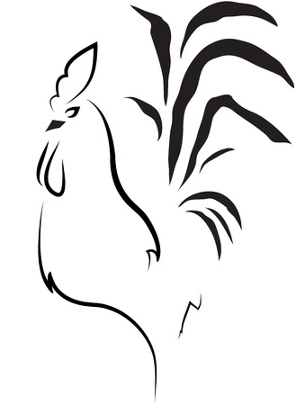 cockscomb: stylized cock on the white background Stock Photo