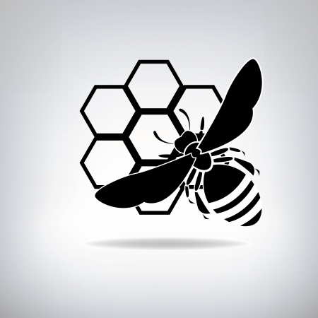 Silhouette of bees and honey Vector