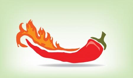 scorching: Red hot pepper , vector illustration