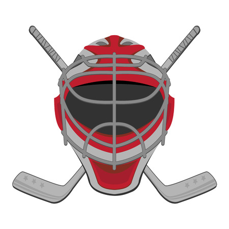 ホッケーのゴールキーパー。アイス ホッケー ゴールキーパー マスク スティック  イラスト・ベクター素材