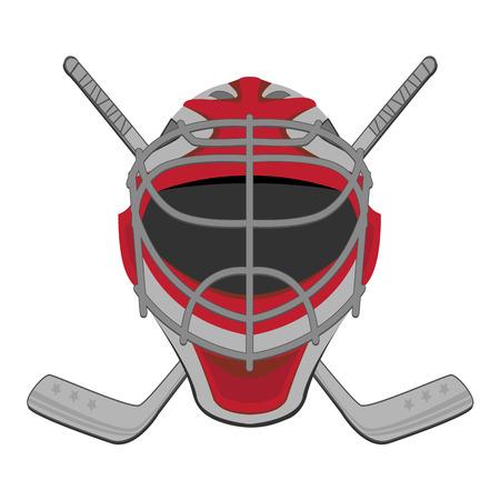 hockey rink: Portero de hockey. Sticks M�scara del portero del hockey sobre hielo Vectores