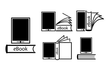 ereader: E-book reader, e-reader vector icons set