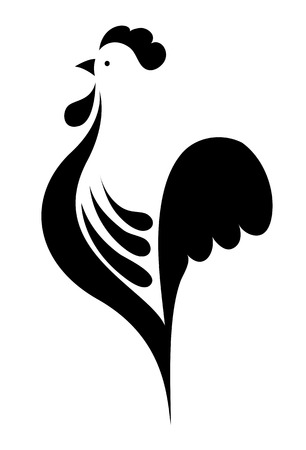 rooster: stylized cock on a white background, vector illustration