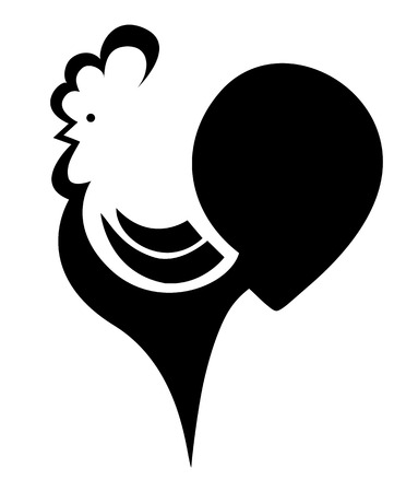 cockscomb: stylized cock on a white background, vector illustration