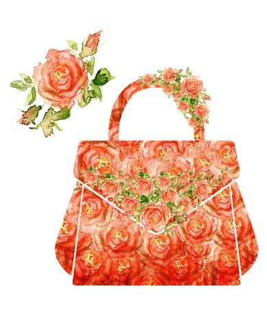 painted image: Fashion women makeup bag, silhouette of a women bag, from water color roses