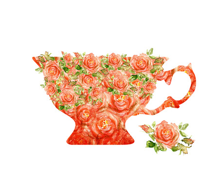 teacups: silhouette cups  Made up of the execution of watercolor roses