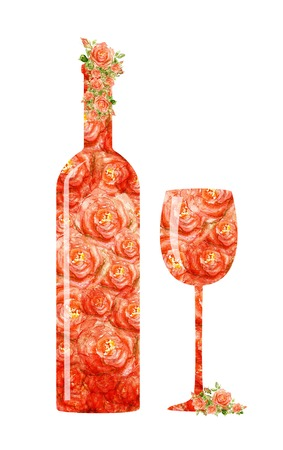 Red wine glass goblet and bottle isolated on white background photo