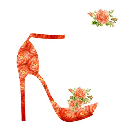 Shoes on a high heel  Silhouette of a women shoes, from water color roses photo