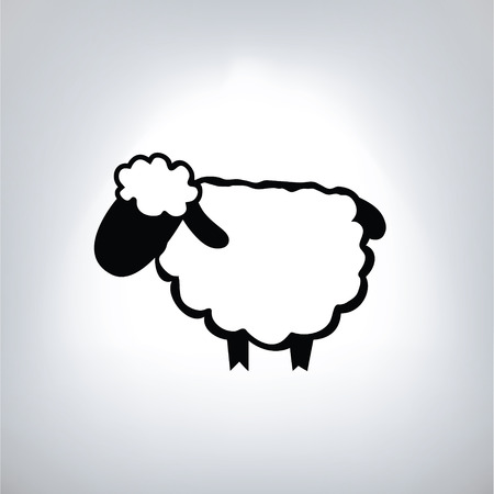 black silhouette of sheep Illustration
