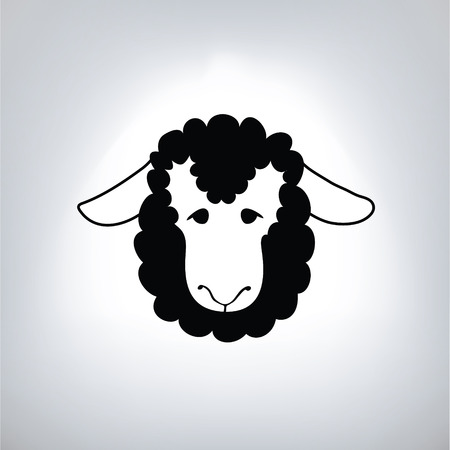 baa: black silhouette of sheep Illustration