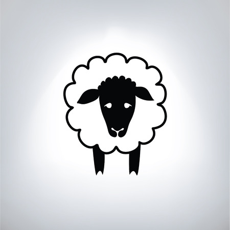 black silhouette of sheep 向量圖像