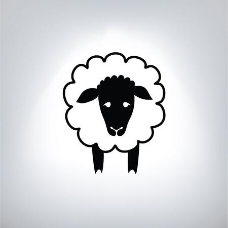 zwarte silhouet van schapen Vector Illustratie