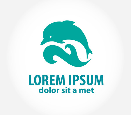 dolphin jumping: Dolphin icon design element