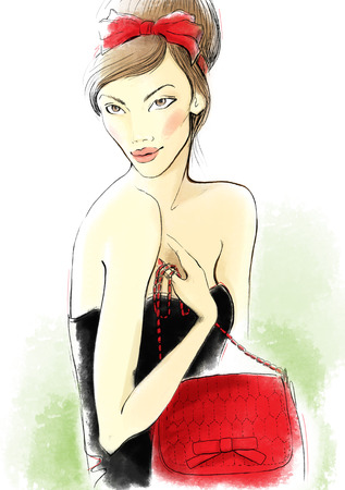 girl sketch: Portrait of the young woman with a bag.  Fashion illustration