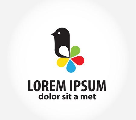 printing logo: bird logo, logo design template for printing, polygraphy