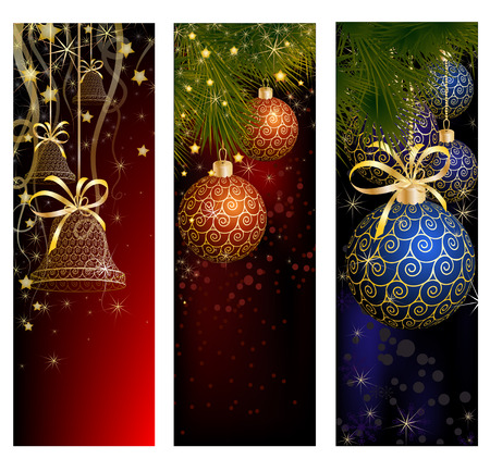 jingle bell: Christmas website banner set decorated with Xmas tree, jingle bell