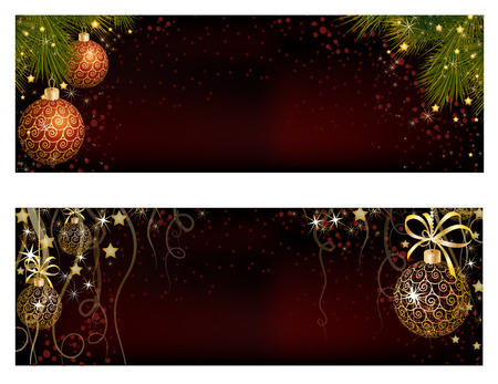 christmas ribbon: Christmas website banner set decorated with Xmas tree, jingle bell