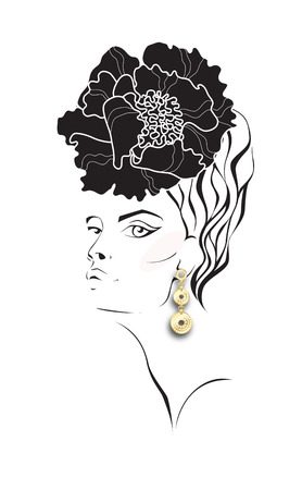 woman scarf: womans face with a flower in hair. Fashion illustration. Illustration