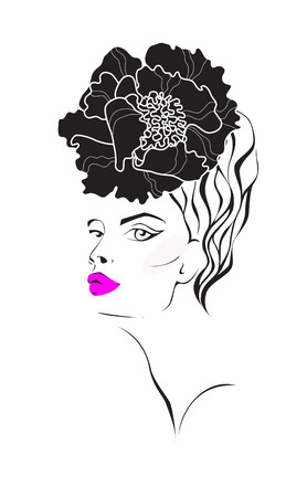 beauty saloon: womans face with a flower in hair. Fashion illustration. Illustration