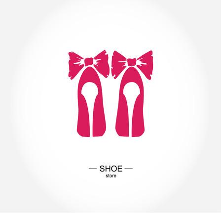 negozio: Logo negozio di scarpe, negozio, collezione di moda, etichetta boutique.
