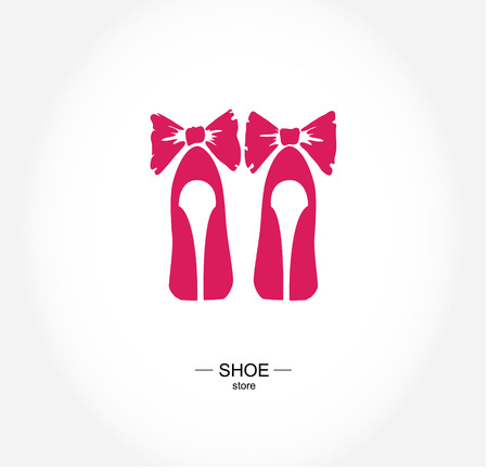 fashion illustration: Logo shoe store, shop, fashion collection, boutique label.