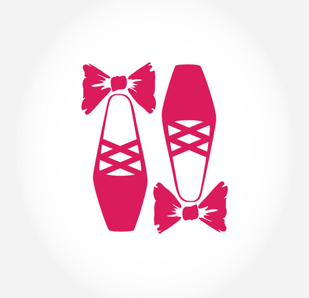 ballet slippers: Illustration of  pink ballet pointes shoes