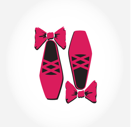 pointes: Illustration of  pink ballet pointes shoes