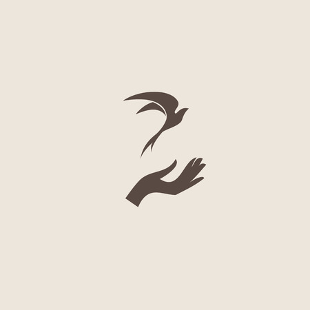 Bird with hand, freedom sign Illustration