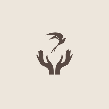 doves: Bird with hand, freedom sign Illustration