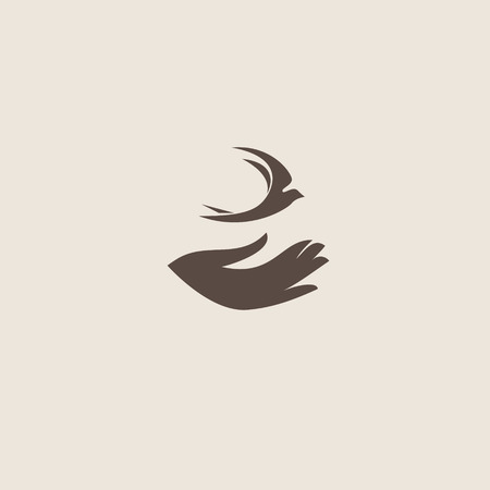 faith: Swallow bird abstract vector logo design template.