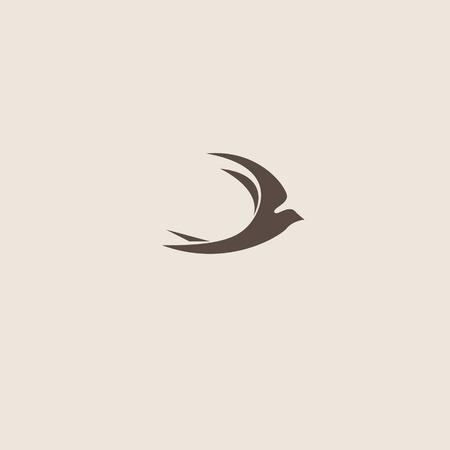 golondrinas: Trague abstracto vector logo plantilla de diseño del pájaro.
