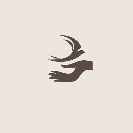 natural logo: Swallow bird abstract vector logo design template.