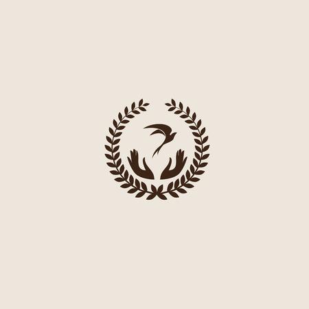 paloma de la paz: Trague abstracto vector logo plantilla de dise�o del p�jaro. Creativo concepto de icono de s�mbolo.