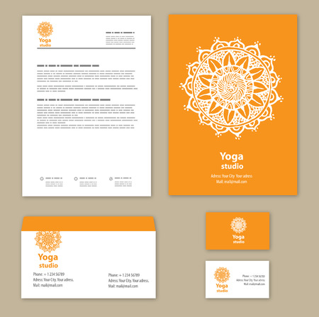 folders: Template corporate style with a round ornament Illustration