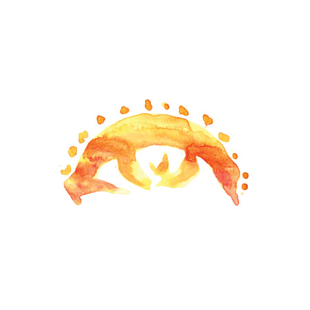 open eye: eye, sun, watercolor, vector Illustration