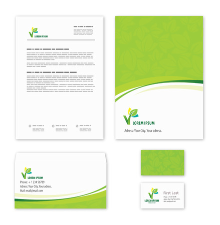 branding: Eco green leaf logo template.