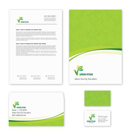 membrete: Eco plantilla logotipo de la hoja verde.
