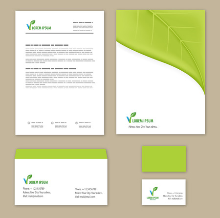 Eco green leaf  template. Vector